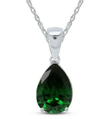 Pear Cut Green Emerald Helenite Pendant Necklace 14K White Gold Over