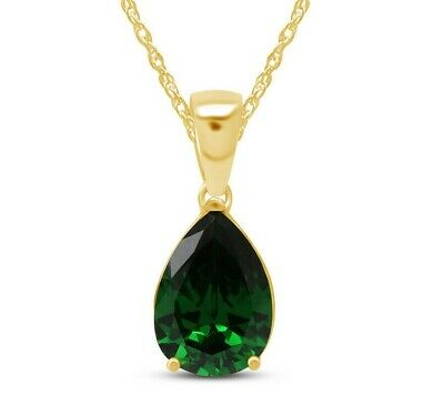 Pear Cut Green Emerald Helenite Pendant Necklace 14K Yellow Gold Over