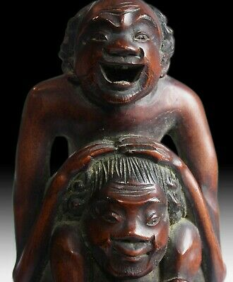 19th Century Japanese Carved Ashinaga and Tenaga Gold Makie Wood Okimono Netsuke