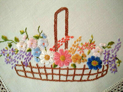 Outstanding Mixed Flower Basket   Vintage Raised Hand Embroidered Centrepiece