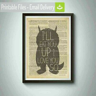 Maurice Sendak quote ,Where The Wild Things Are Dictionary wall Art Picture
