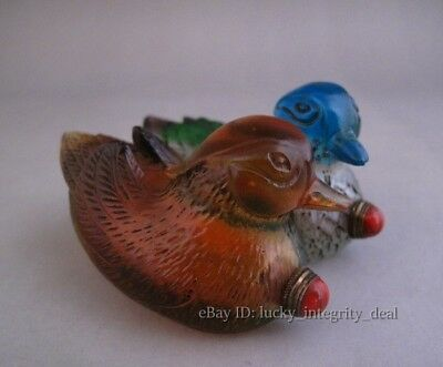 Beautiful Chinese Old Colored Glass Hand Carved Two mandarin Duck Snuff Bottle
