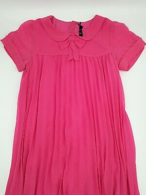 Girls Clothes 9 Years Outfit Next Pink Lined Party Occassion Pleated Smock Dress