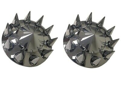 Pair of Chrome Plastic POINTED Front Wheel Axle Hub Covers & 33mm Nut Covers