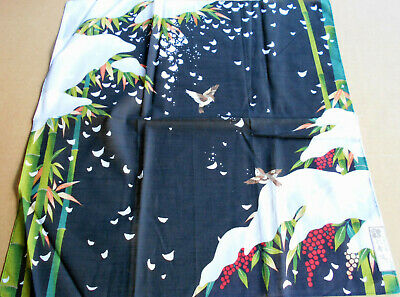japanese furoshiki fabric  Title:Sparrow on bamboo (winter)  About 50.0cm