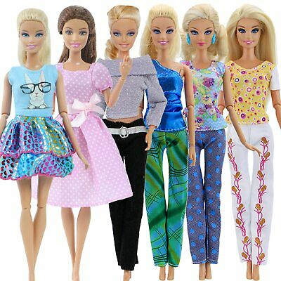 Brand new Barbie doll clothes 6 casual outfits dress skirt top pants clothing.