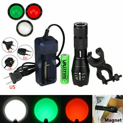 Zoomable Green Red Flashlight Hunting White Lamp LED Focus 5-modes 5000lm Torch