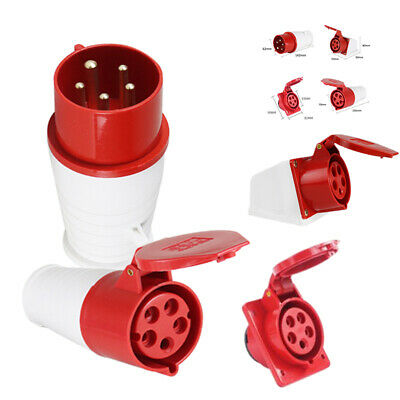415V 32A 5 Pin Industrial Plug/Socket IP44 3 Phase 3P+N+E Male/Female Red Set UK