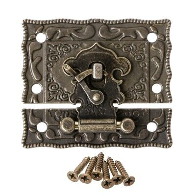 55mmx47mm Vintage Style Latch Wooden Box Hasp Pad Chest Lock Bronze Tone Antique