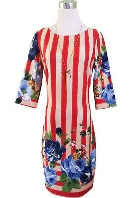 Women Pencil Fashion Cocktail Evening Floral Striped Pattern Dress size 12 M X36