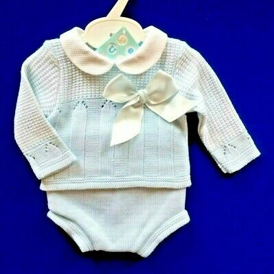 Baby Boys Spanish Knitted Jumper & Jam Pants Outfit Suit Blue Bow Romany Set NEW