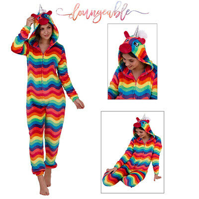 Loungeable Womens 3D Rainbow Hooded Unicorn All In One Soft Fleece Nightwear