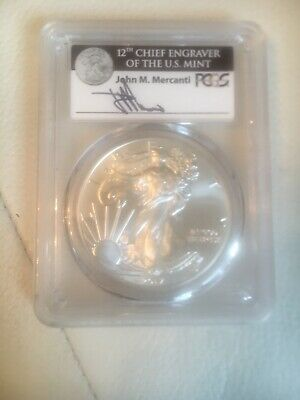 2017-W American Silver Eagle Signed by John M. Mercanti First Strike PCGS MS70