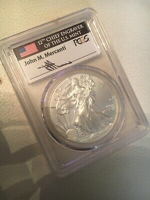 John M. Mercanti Signed 2013-W Pcgs Ms70 Silver Eagle Struck At West Point First