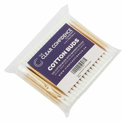 Cotton Buds (Eco-Friendly Bamboo Sticks) - 100% Pure Cotton - Pack of 100