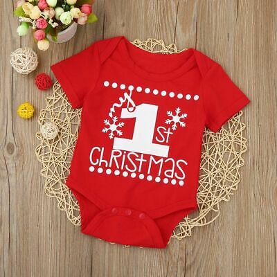 Baby Kids Girls Boys Bodysuit My First Christmas Short Sleeve Jumpsuit Outfits