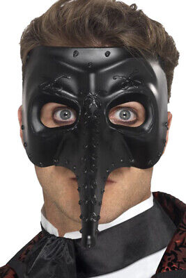 Mens Fancy Halloween Dress Party Venetian Gothic Capitano Mask Black Pack Of 3