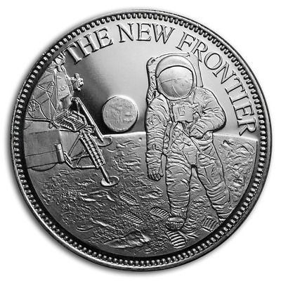 Moon Landing 50th Anniversary New Frontier BU 1 oz Silver Round Coin in Capsule