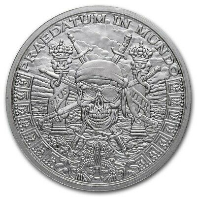Silver Shield Pieces of Eight Pirate Skull BU 1 oz Silver Round Coin w/Capsule