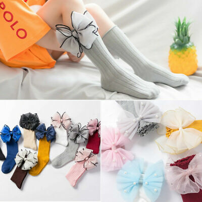 Baby Girl Toddler Kids Knee High Long Socks with Lace Bow 1 to 8 Years Old New