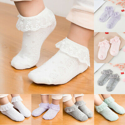 Baby Kid Girl Toddler Lace Ruffle Frilly Cotton Low Ankle Mesh Socks Gift New