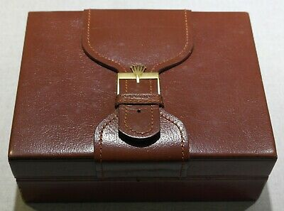 Rolex Vintage watch box leather brown for Day-Date models 71.00.02 like new