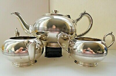 Walker & Hall 3 piece tea set in silver pate All marked with flag Vintage
