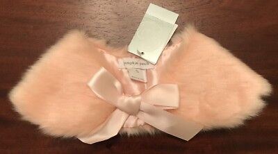 NEW! Pumpkin Patch Girls Pink Faux Fur Collar With Pink Satin Ribbon -Size Small