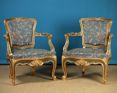 Pair Louis XV Style Gilded Armchairs c.1950.
