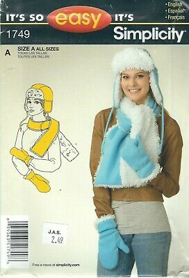 Simplicity 1749 Misses' Hat, Scarf and Mittens  Sewing Pattern