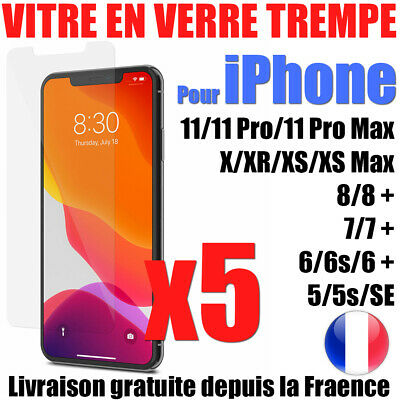 Vitre Protection Verre Trempé Film Écran Iphone Xr Xs 11 Pro Max 8 7 6S +  Lot-5
