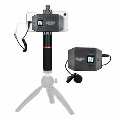 CoMica 6-Channel UHF Wireless Lavalier Microphone with Handle Grip f/ Smartphone