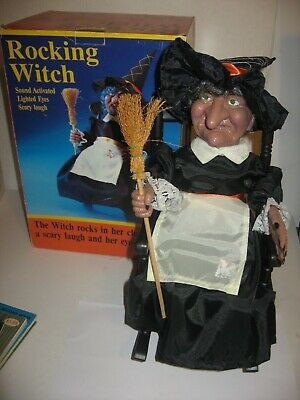 """Rocking Witch Sound Activated Laughs Eyes Flash Chair Rocks Gemmy 13"""" FREE Ship"""