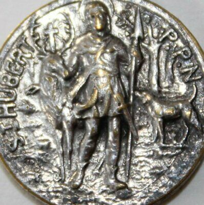 Old Art Medal, Saint Hubertus & Spear, Holy Stag, St Benedict