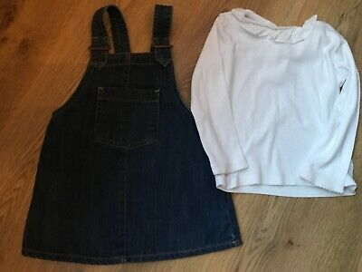 Girls next outfit 12-18 months blue pinafore and white top