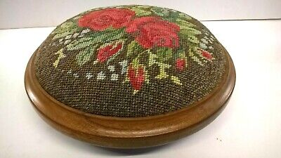 Vintage Round Footstool - Wooden with Tapestry Cover - 3 Legs - Floral Design.