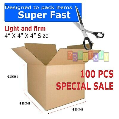 100 4x4x4 Cardboard Packing Mailing Moving Shipping Boxes Corrugated Box Cartons