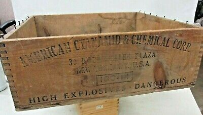 Antique Wood American Cyanamid High Explosive Crate Dovetail Box Advertising (JB