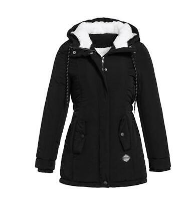 Womens Ladies Winter Thick Warm Fleece Lined Hooded Parka Long Jacket Coat New