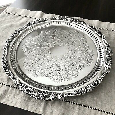 "Stunning Wallace Baroque Silverplate Large 14"" Reticulated & Chased 3-Toed Tray"