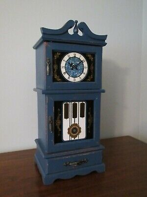 Vintage Jewelry Music Box Armoire Grandfather Clock Dutch Delft Shabby Chic