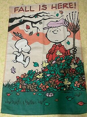Peanuts Charlie Brown Snoopy FALL IS HERE Flag 41 Inches X 28 Across Vintage