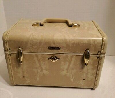 Vintage Mid-Century Samsonite marbled ivory Make-Up Train Case luggage USA 4512