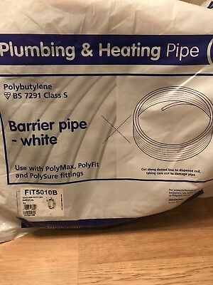 POLYFIT 10mmx50m PIPE WHITE BARRIER COIL POLYPIPE PUSH POLYBUTYLENE FIT5010B