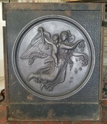 """Antique Cast Iron Fireplace Fire Back Mythical Scene 30"""" x 25-1/2"""" very nice"""