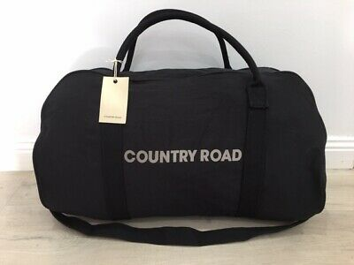 BNWT genuine Country Road woman man unisex canvas BLACK tote bag overnight