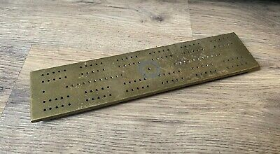 Antique Solid Brass Cribbage Board- Heavy Duty- Vintage Card Game- Man Cave