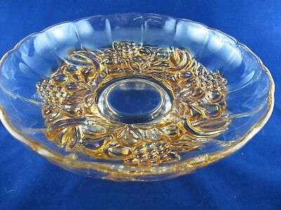 Large Pink BOWL with Embossed Fruit Footed Base Scalloped Edge Depression Glass