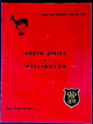 SOUTH AFRICA v WELLINGTON 1965 RUGBY TOUR PROGRAMME , Springboks Rugby