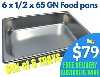 6 x 1/2  GN Pan Size 325mm x 265mm x 65mm Bain marie tray Hot box Salad bar cafe